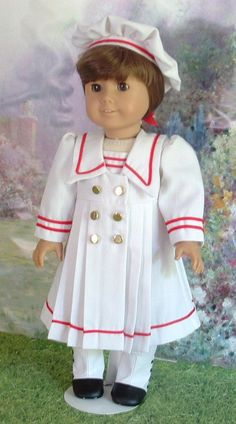 Brittiany White Linen Sailor Dress and Hat by MyGirlClothingCoHeir, $45.00