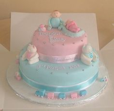 double christening - i was asked if i could create a double christening cake for a brother and sister aged 5 and a few months this id what i came up with Christening Cake Girls, Bedroom For Girls Kids, Twins Cake, Girl Themes, Twin Boys, Girl Cakes, Thank You Cards, Boy Or Girl, Birthdays