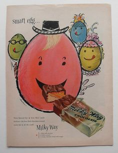 1950s Milky Way Chocolate Candy Bar Advertisement Vintage Illustration by Christian Montone, via Flickr