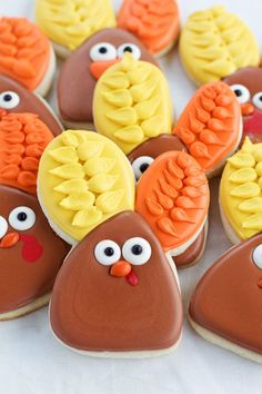 Decorated Turkey Cookies made with a Bunny Cutter