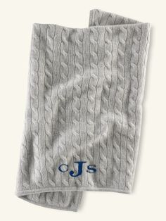 monogrammed cable knit blanket