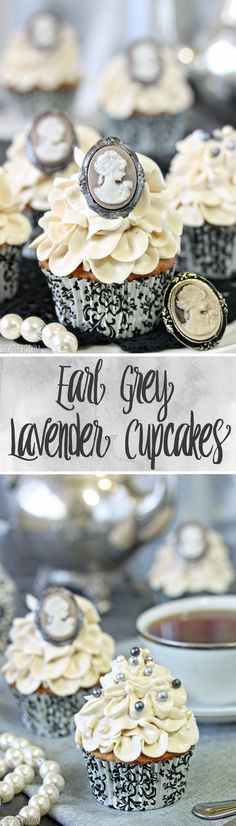 Grey Lavender Cupcakes - with Earl Grey tea and lavender flavor in the cupcake batter and frosting! Cupcake Flavors, Cupcake Recipes, Baking Recipes, Cupcake Cakes, Dessert Recipes, Tea Cupcakes, Fancy Cupcakes, Cupcake Icing, Baking Desserts