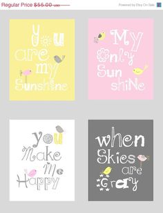 pink, grey and yellow!   Sale 35 Off You are my sunshine Pink Gray and by LittlePergola, $35.75