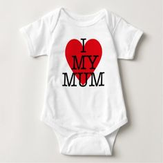 I Love My Mum Baby Mothers Day Red Heart Design Baby Bodysuit - baby gifts child new born gift idea diy cyo special unique design