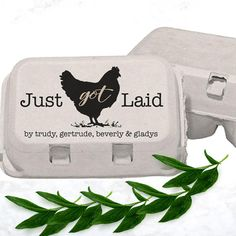 A custom just got laid stamp is a great idea for labeling and personalizing the eggs from your backyard chicken coop, farm or homestead. From mini egg stamps to larger stamps for egg cartons, tags and stickers, rubber stamps are a fun way to customize your coop eggs. Not a