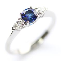 Platinum Sapphire and Diamond Trilogy Engagement Ring, Form Bespoke Jewellers…