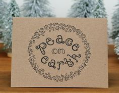 PEACE ON EARTH hand-lettered holiday card