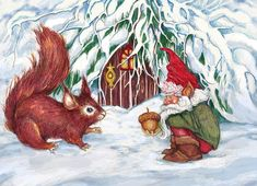 [Peggy Wilson - Gnome's Present]  ...Watch out, Gnome, that damn squirrel is going to crack your head open!