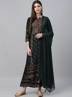 Green & Navy Blue Printed Kurta with Palazzos & Dupatta Indian Dresses For Girls, Girls Dresses, Kurta Palazzo, Salwar Kameez Online, Girl Online, Green Print, Girls Shopping, Silk Top, Hemline