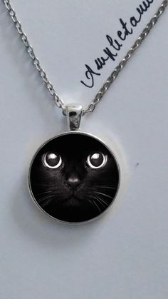 Amphetamine necklaces - Black cat kitten kitty glass pendant cabochon necklace…