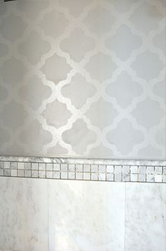 super light gray-MBR Wall Stencil Ideas : Use the same paint in different finishes for a more subtle contrast- Glossy design on matte paint...almost looks like wallpaper I would buy!