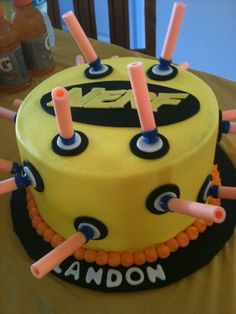 Nerf Birthday Party Cake made by Shannon Champion Nerf Birthday Party, Nerf Party, 10th Birthday Parties, Birthday Ideas, 7th Birthday, Birthday Cakes, 50 Party, Birthday Stuff, Theme Parties