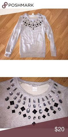 South Moon Under Glamorous Rhinestone Sweater SOUTH MOON UNDER GLAMOROUS RHINESTONE GREY SWEATER 100% AUTHENTICITY GUARANTEED  NEW WITHOUT TAGS SIZE: WOMEN'S SMALL BEAUTIFUL RHINESTONE DESIGN ON FRONT THERE ARE NO HOLES, MARKS, STAINS, OR TEARS ON THIS SWEATER MADE OF 100% COTTON Sweaters Crew & Scoop Necks