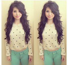 She is stunning and her style is on point mint green skinnies and a polka dot jumper lovely combo oxoxoxoxoxxo Cute Fashion, New Fashion, Autumn Fashion, Fashion 2015, Fashion Styles, Green Skinnies, Cut And Style, My Style, Chic Outfits