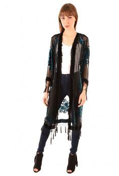 Jayley Black Silk Kimono Robe | Long Kimono
