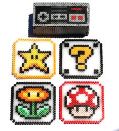 Nintendo Controller Coaster Holder with Coasters  Perler Bead
