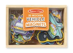 Melissa and Doug wooden vehicles with magnets - for a little one fascinated by things that stick to the fridge!