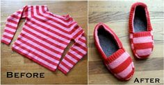 Upcycle Old Sweater into Cozy Slippers #DIY #repurpose