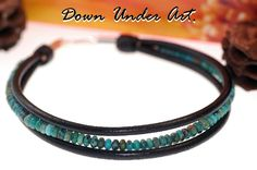 N-440 Aussie Made Natural Turquoise Leather Sterling Silver Choker Necklace.