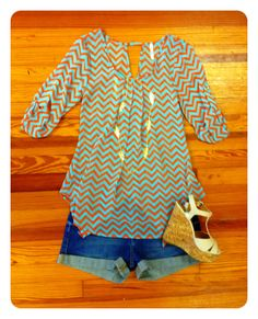 Coral & Mint Chevron top...obsessed with these two colors right now.