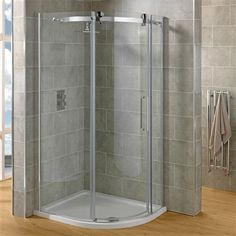 Smooth gliding 100x80cm Susana Offset Quadrant Shower enclosure with right hand sliding door on solid brass top bar. Also features Clearseal protected glass.