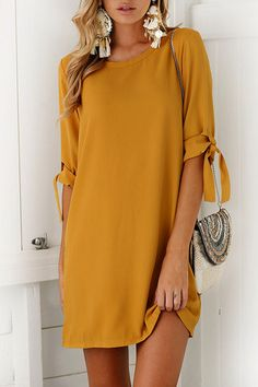 Yellow Self-tie at Sleeves Mini Dress