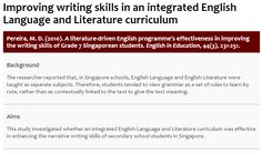 Pereira, M. D. (2010). A literature-driven English programme's effectiveness in improving the writing skills of Grade 7 Singaporean students. English in Education, 44(3), 231-251.