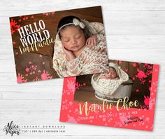 • Instant download •  Birth announcement template  DETAILS:  • 2 PSD files • front and back flat cards 5x7 inches • easily customize colors and text • fully customizable, layered photoshop PSD files at 300 dpi, you can change all colors • clipping masks, easy to drop your photos in • name of the fonts used included • photos are not included with this template   You will need basic knowledge of Adobe Photoshop to make changes in templates. AliceAndPaper products are created for photographic…