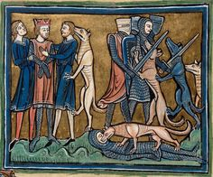 Folio 30v: Detail of a miniature of the legend of the king Garamantes who was rescued by his dogs.