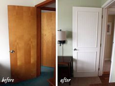 Smart idea!  Dress up flat hollow core doors with beadboard, molding and paint.