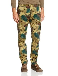 Scotch & Soda Men's Slim Fit Camo Cargo Pant, Green, 28
