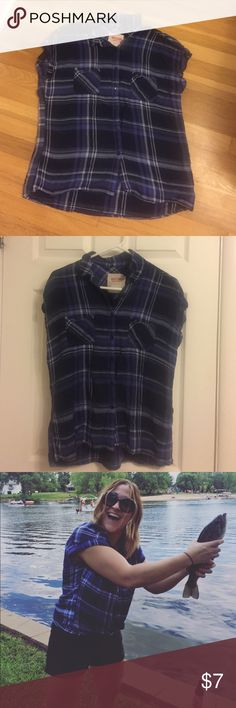 Mossimo top Blue plaid button up, love it. Mossimo Supply Co Tops Blouses