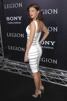 Adrianne Palicki booty in a knee length body con dress