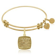 Expandable Bangle in Yellow Tone Brass with California Betty Symbol