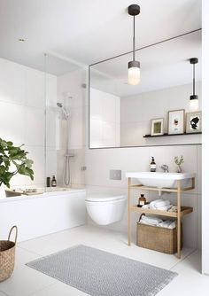 Half bathroom ideas and they're perfect for guests. They don't have to be as functional as the family bathrooms, so hope you enjoy these ideas. Update your bathroom decor quickly with these budget-friendly, charming half bathroom ideas White Bathroom Inspiration, Bathroom Interior Design, Home, Beautiful Bathroom Designs, Small Apartment Bathroom, Trendy Bathroom, Minimalist Bathroom, White Bathroom, Farmhouse Bathroom Decor