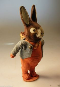 """Cute Made in GERMANY PAPIER MACHE BUNNY RABBIT w/ Basket Candy Container 7"""""""