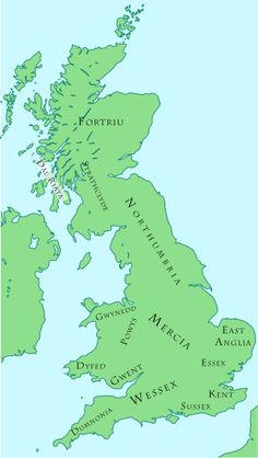 Anglo-Saxon and British kingdoms c.800   This is about A century before the supremacy of King Alfred the Great. It was also concurrent with the crowning of Charlemagne as Holy Roman Emperor.