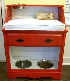 Repurpose an Old Desk into a Pet Station | Repurpose Furniture: The Best Way To Upgrade Your Home Living Economically #repurposedfurnituredesk