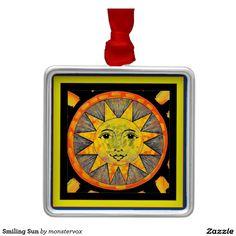 Smiling Sun Metal Ornament #Sun #Sunshine #Star #SolarSystem #Smile #Holiday #Ornament