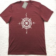 Compass UNISEX slogan Tshirt typography logo by JunkboxCouture