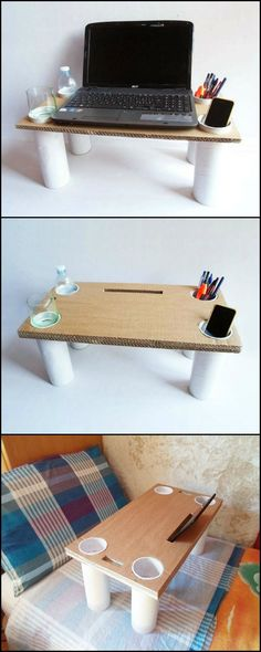 Multi-purpose Bed Table It's a tablet stand, a laptop tray, a cellphone holder, a pencil holder, a glass and bottle holder — an anyt(Diy Art Stand) Cardboard Furniture, Cardboard Crafts, Wood Crafts, Diy Furniture, Diy And Crafts, Upcycled Crafts, Carton Diy, Craft Room Tables, Diy Karton