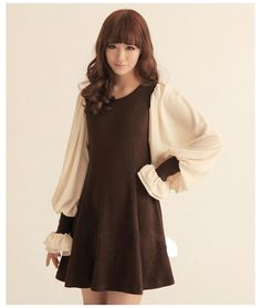 Brown Gorgeous Globed Dress with Princess Sleeves Korean Fashion Collection