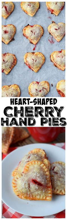 Heart Shaped Cherry Hand Pies recipe have a buttery flaky crust and are filled with a cherry pie filling. They are perfect for Valentines Day or any special occasion. #valentinesday #handpie #cherrypie #sweets #pie