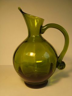 Vintage Blenko Deep Olive Optic Pitcher