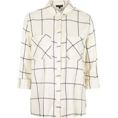 TOPSHOP Large Scale Checked Shirt ($58) ❤ liked on Polyvore featuring tops, shirts, blouses, topshop, monochrome, white cotton tops, oversized shirt, shirts & tops, oversized tops and white checkered shirt