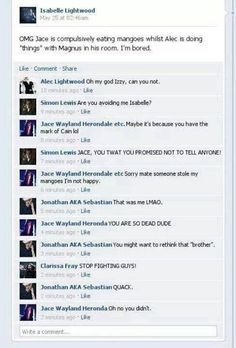 Can't imagine the TMI characters with facebook