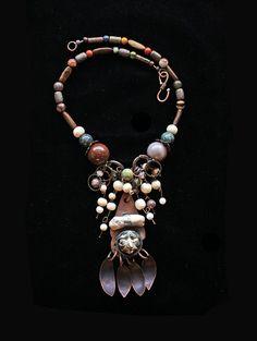 Handmade Pure Copper Pendant Depicting Creature by BijouxWalla