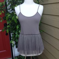 "Kersh Boho Top Host Pickmagicmorgan Taupe color, has adjustable straps, skirt is sheer but top is not. Bust is 30"" and length from underneath shoulder is 28 1/2 "" plus adjustable straps. All measurements with top lying flat. Host Pick by footcandy 5.16.15 Fresh Fashion Party HP kemprada 9/26 Kersh Tops"