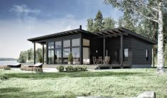 🌟Tante S!fr@ loves this📌🌟 Modern Small House Design, Tiny House Design, Small Modern Home, Cottage Design, Black House Exterior, Cottage House Plans, House Roof, House In The Woods, House Colors