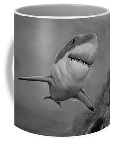 Shark Coffee Mug featuring the drawing Reef Shark by Faye Anastasopoulou Fusion Art, Reef Shark, Ocean Scenes, Mugs For Sale, My Themes, Artist At Work, Color Show, Colorful Backgrounds, Coffee Mugs